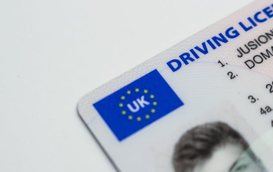 Corner of a UK driver's licence, owned by a man who previously sat and passed one of the intensive driving courses Glasgow